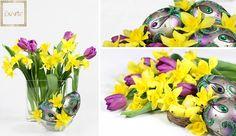Radosne żółcie i fiolety wielkanocnych dekoracji a w nie pięknie wkomponowane jaja Faberge od ExArte