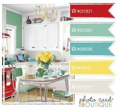 Vintage Kitchen A subtle nod to retro - red, aqua, yellow and teal blue. Skip the aqua so it's not so retro. Want a more beachy/fresh vibe. I'm thinking I like this kitchen color scheme. Kitchen Colour Schemes, Kitchen Colors, Color Schemes, Kitchen Design, Color Combos, Design Bathroom, Bathroom Ideas, Paint Combinations, Bathroom Things