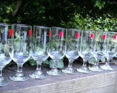"""Vintage Set of Michelob Stem Beer Glasses 1980s $48.00 