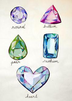 gemstones watercolour