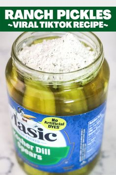 Made famous on TikTok, Ranch Pickles are delicious dill pickles marinated in ranch seasoning. With a zesty dill ranch flavor, this will be a go-to snack! Quick Snacks, Yummy Snacks, Yummy Food, Delicious Recipes, Best Appetizers, Appetizer Recipes, Snack Recipes, Dinner Recipes, Cooking Recipes