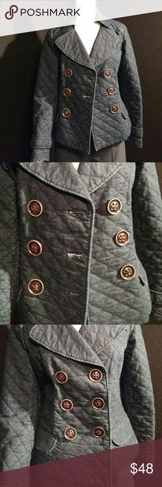 Gorgeous quilted jean jacket Stylish, quilted dark blue jean jacket. Really cool fabric, large fun buttons, can dress up or down. Blazer style. Excellent condition! Focus 2000 Jackets & Coats Jean Jackets