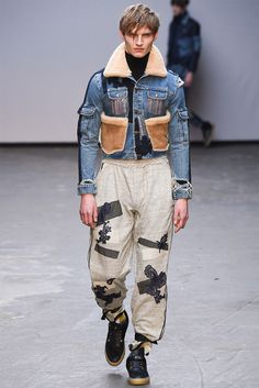 [James Long]: shearling + denim; textured patchwork — mesh and lace