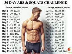 Men's Fitness: 30 Day Abs and Squats Challenge - http://www.amazingfitnesstips.com/mens-fitness-30-day-abs-and-squats-challenge:
