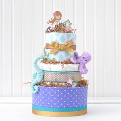 Mermaid Baby Shower Diaper Cake, Octopus, Seahorse Under The Sea Baby Shower Ideas - Baby Blossom Company Mermaid Baby Shower Decorations, Mermaid Baby Showers, Baby Mermaid, Baby Shower Themes, The Little Mermaid, Shower Ideas, Cake Centerpieces, Shower Centerpieces, Baby Bouquet