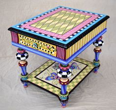 Hand Painted Butterfly Side Table