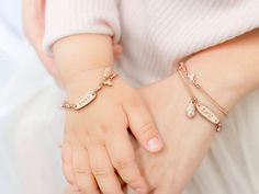 Personalized Mother Daughter Bracelet, Mother Daughter Jewelry, Baby Bracelet, Rose Gold Happiness You & Me Bracelet set Baby Bracelet, Bracelet Set, Mother Day Gifts, Gifts For Mom, Mother Daughter Bracelets, Gold Chain Choker, Baby Jewelry, Engraved Jewelry, Rose Gold