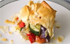 <p>Little veggie bundle bliss! These phyllo pockets are filled with the delicious wonder of roasted veggies.</p>