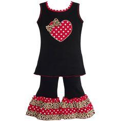 AnnLoren Girls Polka Dot Heart Capri Clothing Set