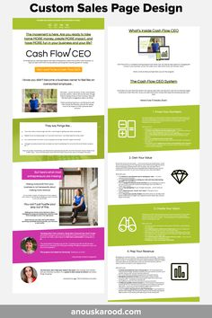 Custom Sales Page Design by Anouska Rood -for Cash Flow CEO Feeling Overwhelmed, Page Design, More Fun, Online Business, Flow, Feelings