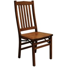 This Amish Mission Folding Chair is skillfully handmade by highly experienced Amish craftsmen in the Heartland of America. Built from solid Quarter Sawn White Oak (shown), you can take pride in owning furniture built to the highest standards and with the strictest attention to detail.   This outstanding chair can be perfectly coupled with a matching dining table or used independently as an accent piece. The back of this chair is designed to accommodate the natural curve of the spine…