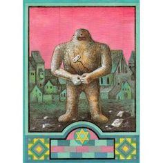 Czech Post Card: PRAHA ZIDOVSKA (The Jewish Prague), GOLEM, Autor: Jindrich Cech