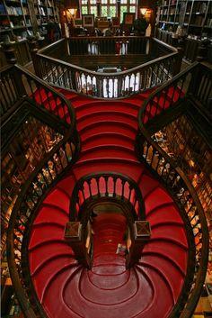 The magnificent staircase at the Lello & Irmão bookstore in Porto