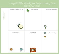 Free: Kids Travel Project Life Journal Cards