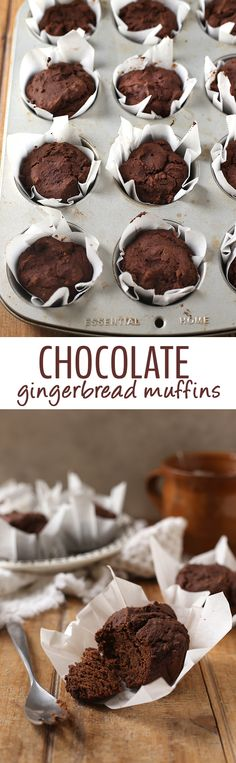 Ring in the holidays with these healthy chocolate gingerbread muffins that are gluten-free and vegan! They're full of rich chocolately flavors plus a spicy gingerbread kick.