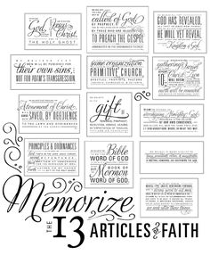 13 Articles of Faith free printable - also, links to a great blog for Faith in God tracking, handouts, etc.