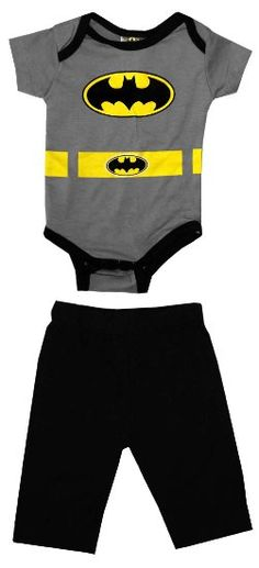 Batman Logo Costume DC Comics Baby Creeper Romper Snapsuit With Pants Two Piece Set: Clothing I want to get this for my infant Baby Batman, Batman Baby Clothes, Baby Kids Clothes, Cute Outfits For Kids, Baby Boy Outfits, Batman Sets, Batman Outfits, Batman Logo, Saint James