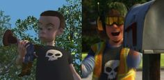 """Pixar Movie Easter Eggs You May Have Seriously Never Noticed. I knew about some of these, but a lot of them I didn't ever realize! Trash collector from ToyStory 3 is Sid from Toy Story! You can tell by the skull t-shirt"""" Film Pixar, Disney Pixar Movies, Disney And Dreamworks, Easter Eggs In Movies, Disney Easter Eggs, Disney Love, Disney Magic, Disney Stuff, Walt Disney"""