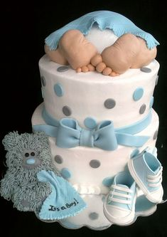 """Baby Rump"" Baby Shower Cake...It's a Boy! Vanilla cake with buttercream icing, fondant accents. Teddy Bear, baby feet/legs are Rice Krispie Treats. Baby Sneakers are fondant/gum paste. TFL!"