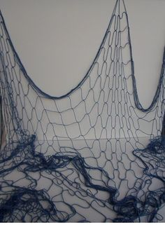 Decorative Blue Fish Net 4' x 12' - Nautical Netting -I would hang over my curtains as a valance.