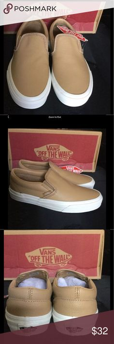 New Authentic Vans women's shoes Classic Slip On. Nice tan leather Vans Shoes