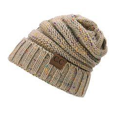 45a551b9e4d45 2018 CC Warm Winter Hat For Women Ponytail Beanie Stretch Cable Knit Messy  Bun Hats Soft Ski Cap Wholesale