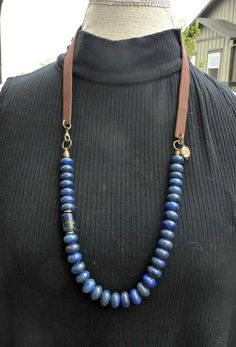 Blue Lapis Lazuli stone, lamp work glass bead, bronze metal and leather necklace. - McKee Jewelry Designs