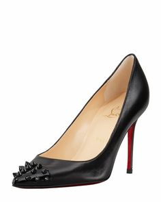 Geo Spike Point-Toe Red Sole Pump, Black by Christian Louboutin at Bergdorf Goodman.
