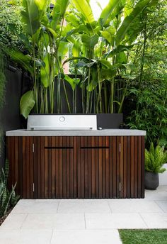 With large-leafed plants and other privacy-protecting species swaying in the wind around the perimeter, this Sydney garden has a cosseted luxury its owners love. Outdoor Bbq Kitchen, Outdoor Kitchen Cabinets, Concrete Kitchen, Outdoor Kitchen Design, Outdoor Barbeque, Small Outdoor Kitchens, Backyard Kitchen, Barbecue, Outdoor Spaces