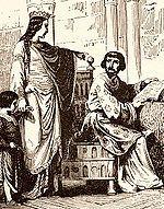 Robert II de France: Constance d'Arles, nouvelle reine des Francs, une forte personnalité du 11°s. Gravure de la fin du 19°s. - Robert: poursuivant l'oeuvre politique de son père après 996, il parvient à maintenir l'alliance avec la Normandie et l'Anjou et à contenir les ambitions d'Eudes II de Blois.