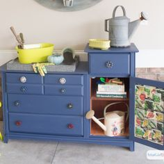 Repurposed potting bench makeover with spigot drawer pulls and handles Deck Design Plans, Deck Storage, Garden Power Tools, Potting Tables, Repurposed Furniture, Garden Furniture, Glass Garden, Bench, Gardening