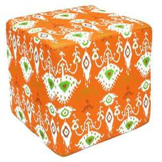 Handcrafted Orange Ikat Pouf Ottoman (India) | Overstock.com Shopping - Top Rated Ottomans