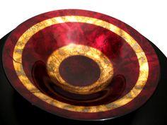 Centro de mesa italiano en cristal rojo con oro. Hecho a mano diametro de 40 cm