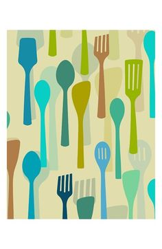Green Leaf Art 'Colorful Kitchen Utensils' Wall Art available at #Nordstrom