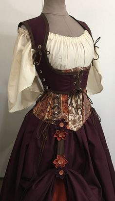 Festival Maiden Custom Cropped Reversible Vest Sleeves Under Bodysuit Couture Off The Shoulder Renaissance Costume, Renaissance Dresses, Fantasy Costumes, Cosplay Costumes, Mode Steampunk, Steampunk Corset, Pretty Outfits, Cool Outfits, Fantasy Dress