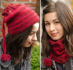 Free Knitting Pattern for Honore Hat / Cowl - A cozy, convertible drawstring hat that converts to a cowl. Pull your ponytail or messy bun through the top drawstring opening for a perfect ponytail hat. Designed by Cirilia Rose