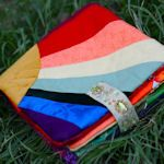 "This tutorial uses crazy quilt squares to make a soft book for baby. Each ""page"" is a crazy quilt square with scraps of just one color so baby can see lots of shades and variations of each color; together the pages make up a rainbow soft book. Sewing For Kids, Baby Sewing, Sewing Diy, Homemade Baby Gifts, Homemade Toys, Easy Baby Blanket, Fabric Scraps, Scrap Fabric, Baby Crafts"