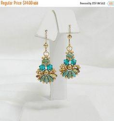 Swarovski Beaded SuperDuo earrings,Beaded Swarovski earrings,Beaded jewelry,SuperDuo jewelry - Fanfare SuperDuo earrings