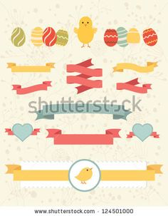 stock vector : Set of easter ornaments and decorative elements, vintage banner, ribbon, labels, frames, badge, stickers. Vector easter element. Vintage chick