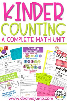 In this kindergarten math unit, students will practice important early math skills like counting to 15 and number recognition to 10. It comes with kindergarten math centers, kindergarten math lessons, and even math worksheets that you can use in your classroom.