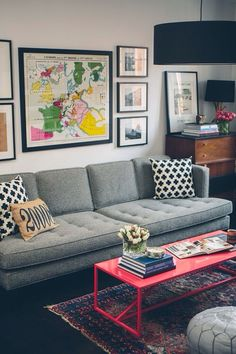 Grey Couch | Metal Coffee Table | Large Wall Prints | Side Board