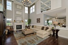 The Langley family room is a peaceful oasis of neutral colors highlighted by accessories.