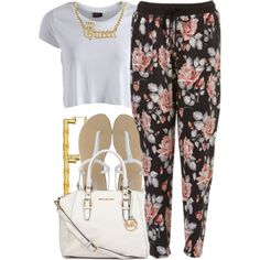 july 6 2k14, created by xo-beauty on Polyvore floral pants gold necklace teen fashion style street style