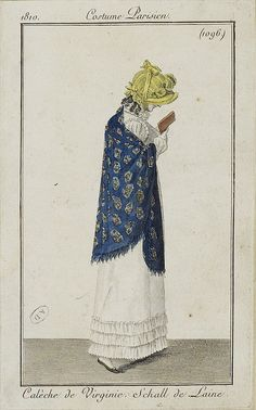 Costume Parisien ca 1802. Read or walk, not both. Fashion plate drawn by Horace Vernet.
