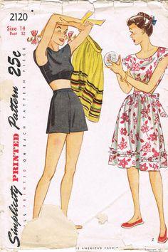 1940s Playsuit Pattern Simplicity 2120