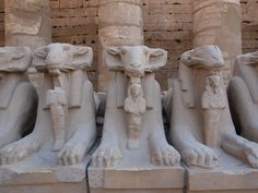 goat/lion statues, egypt