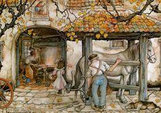 Blacksmith. Artwork by Anton Piek (1895-1987). Dutch painter, artist and graphic artist.