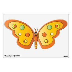 Cute Orange Cartoon Butterfly Wall Decal.   Great for the home. High Quality Designs on gifts for those special people in your life. Look in my store Designs by DonnaSiggy. Copy & Paste this web address: www.zazzle.com/designsbydonnasiggy* Using the Asterisk at the end of the web address helps the artist make a little more money with no extra cost to the buyer. Please share with your family and friends. Thank you for stopping by! #decals #butterfly #zazzle