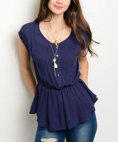 Another great find on #zulily! Navy Lace-Back Button-Front Top #zulilyfinds