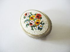 Vintage Micro Mosaic Brooch White with Roses and Pansies Purple Red Yellow and Blue